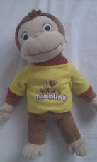 Adorable Rare Big Curious George 'I Love Tumbling' Official Monkey Plush Toy